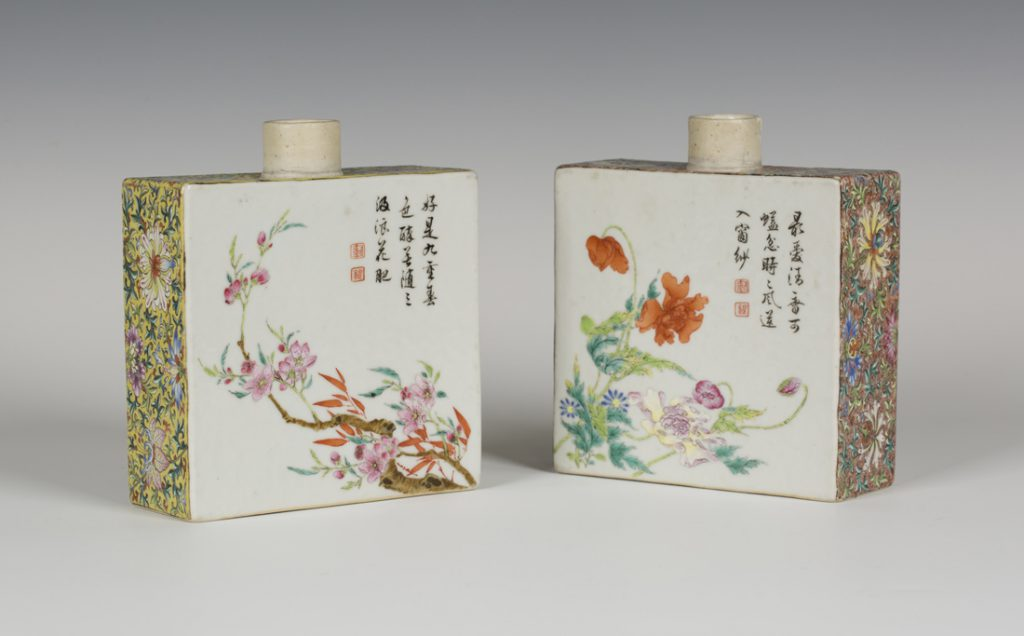A pair of Chinese famille rose enamelled porcelain rectangular tea caddies