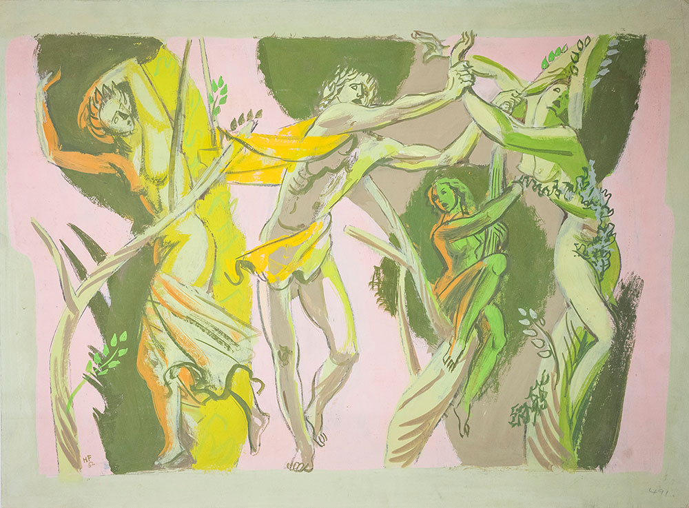 Hans Feibusch - Study for a Mural (Diana and Actaeon), Pallant House Gallery, (Feibusch Studio, Gift of the Artist, 1997) © By Permission of The Werthwhile Foundation