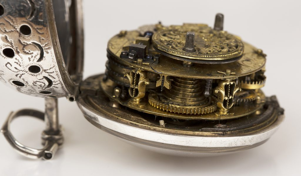 The exquisite gilded fusee, striking movement, c.1685, displaying the watchmaker's art