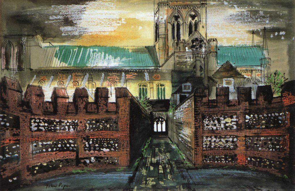 John Piper, View of Chichester Cathedral from the Deanery, 1975, ink, watercolour and crayon on paper, Pallant House Gallery (Hussey Bequest, Chichester District Council, 1985) © The Piper Estate / DAC