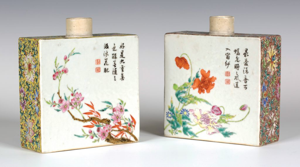 The pair of Chinese imperial famille rose enamelled porcelain rectangular tea caddies