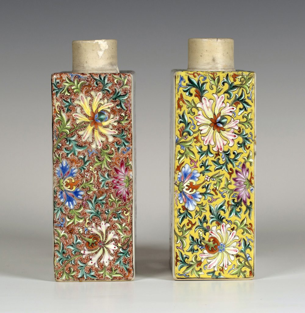 The densely decorated sides of the Chinese famille rose tea caddies, typical of the Qianlong period (1735-1796)