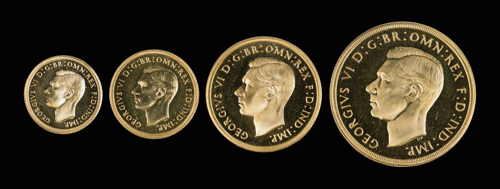 A cased George VI gold four-coin specimen set, 1937, comprising a five pounds, two pounds, a sovereign and a half-sovereign