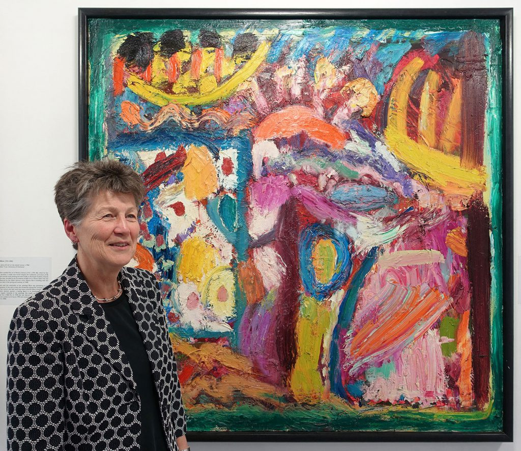 Curator, Dr Gill Clarke, admires Florestan by Gillian Ayres (b.1930)