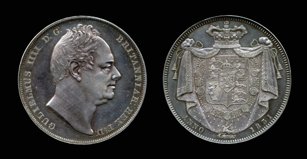 A William IV Crown, 1831, 'W.W.' on truncation of bust
