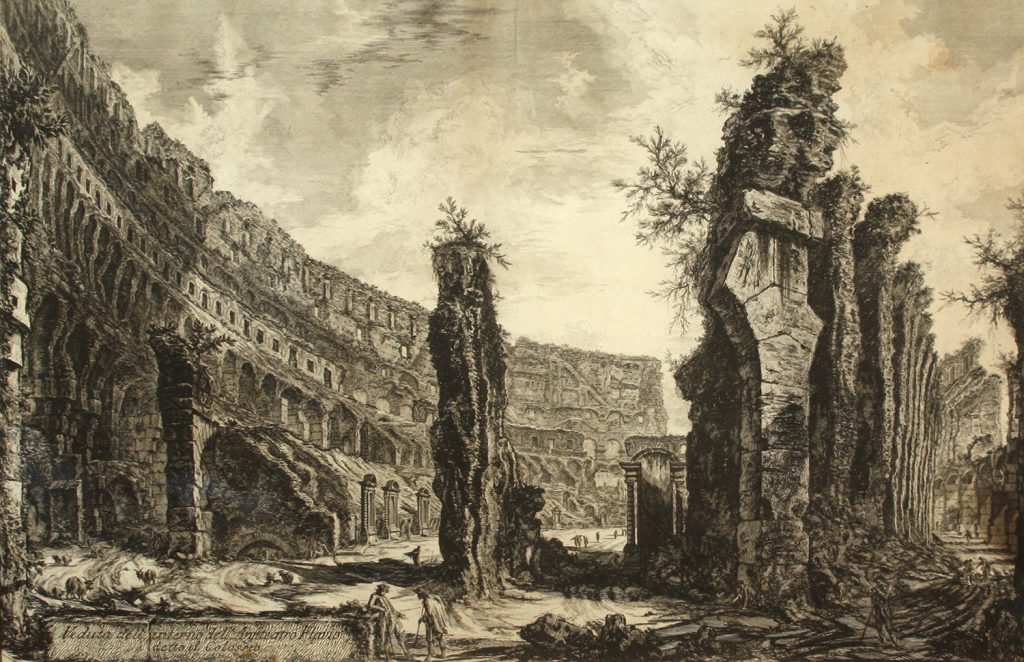 An etching after Giovanni Battista Piranesi titled 'Veduta dell' Interno dell' Ansiteatro Flavio detto il Colosseo'