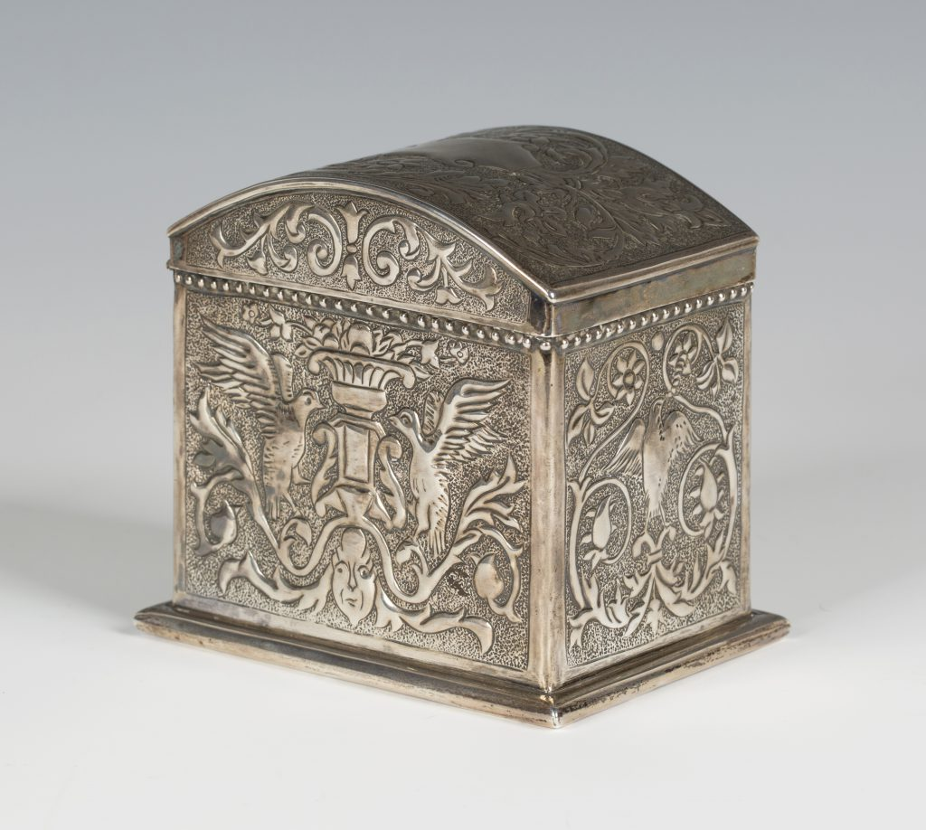A late Victorian Arts & Crafts tea caddy by Keswick School of Industrial Art