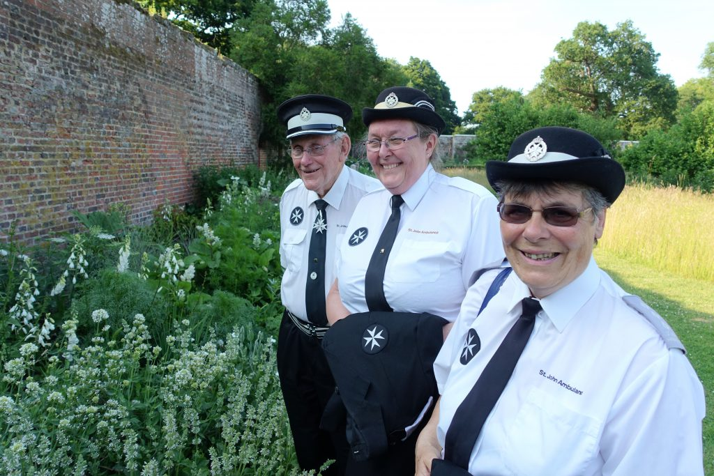Long service award winners Linda Hickman, Christine McIntyre and John Wright from the Bognor Regis Unit of St. John Ambulance, enjoying the gardens at Parham