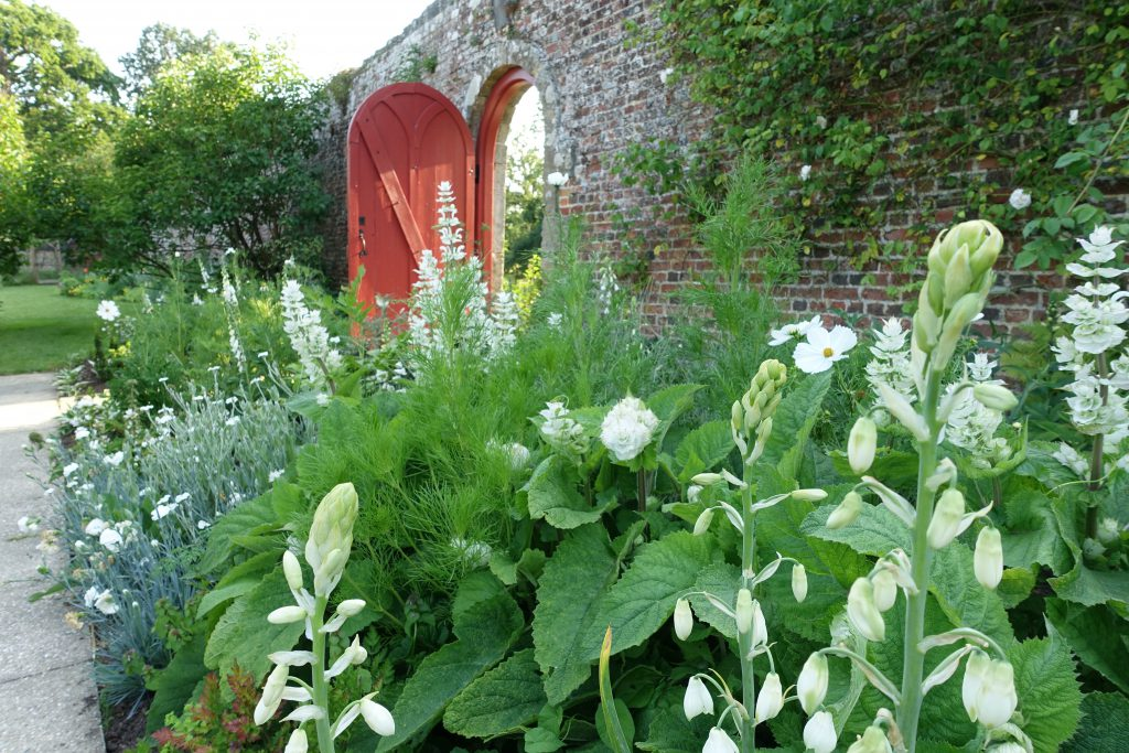 The new White Border against the ancient walls of Parham's gardens