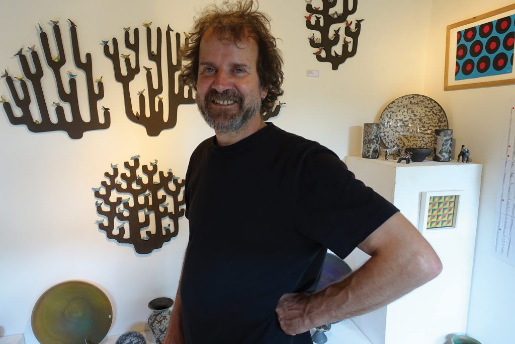 Ceramic artist, Josse Davis, in the Duff Gallery, Tarrant Street, Arundel