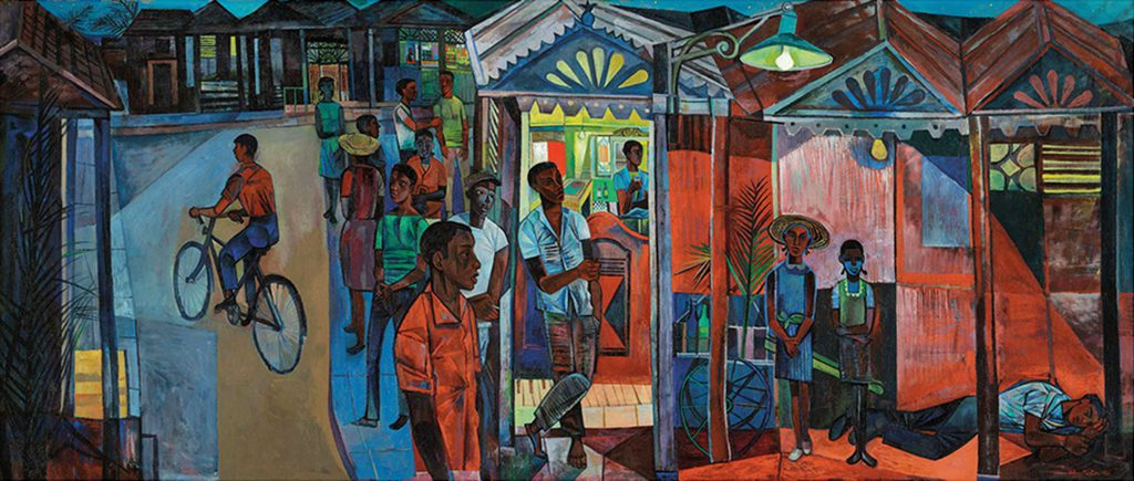 John Minton, Jamaican Village, 1951, oil on canvas, private collection, photograph © 2016 Christie's Images Limited/ Bridgeman Images © Royal College of Art
