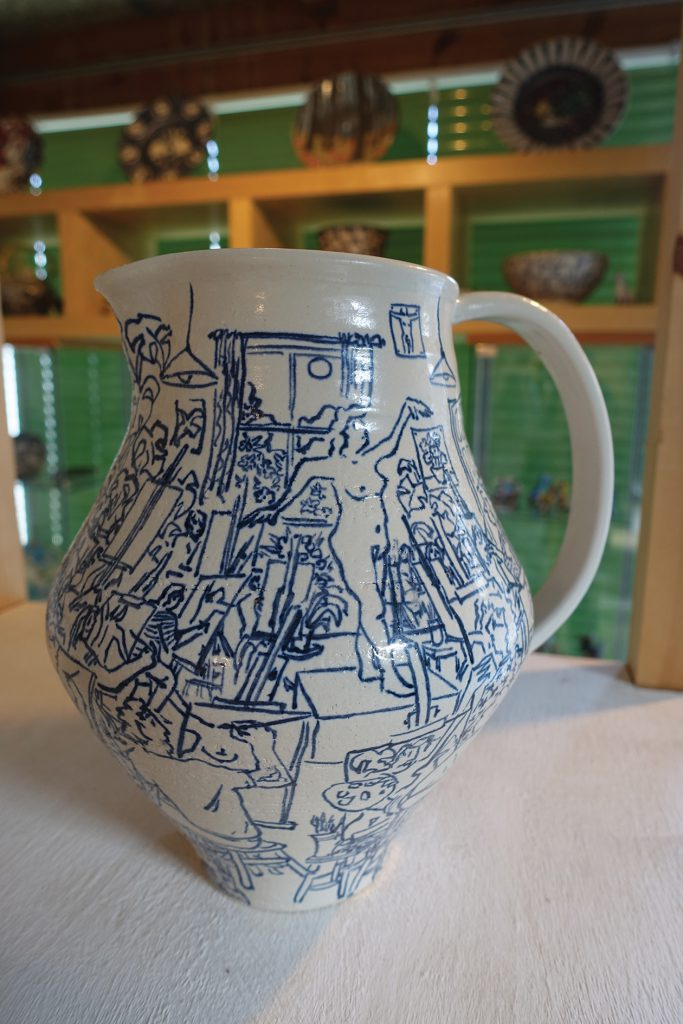 A stoneware jug titled 'The Art Class' by Josse Davis