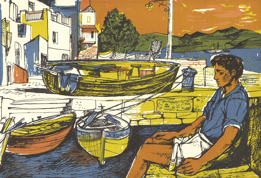 Illustration from Time was Away: A Notebook in Corsica, by John Minton and Alan Ross, published by John Lehmann Ltd, 1947, pen and ink on paper © Royal College of Art