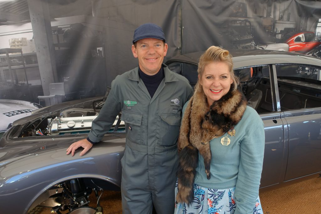 Designers Oliver and Alison Winbolt at their Splined Hub Jaguar stand