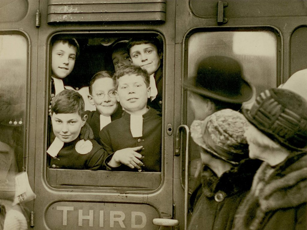 An early photograph of pupils on the train to Christ's Hospital