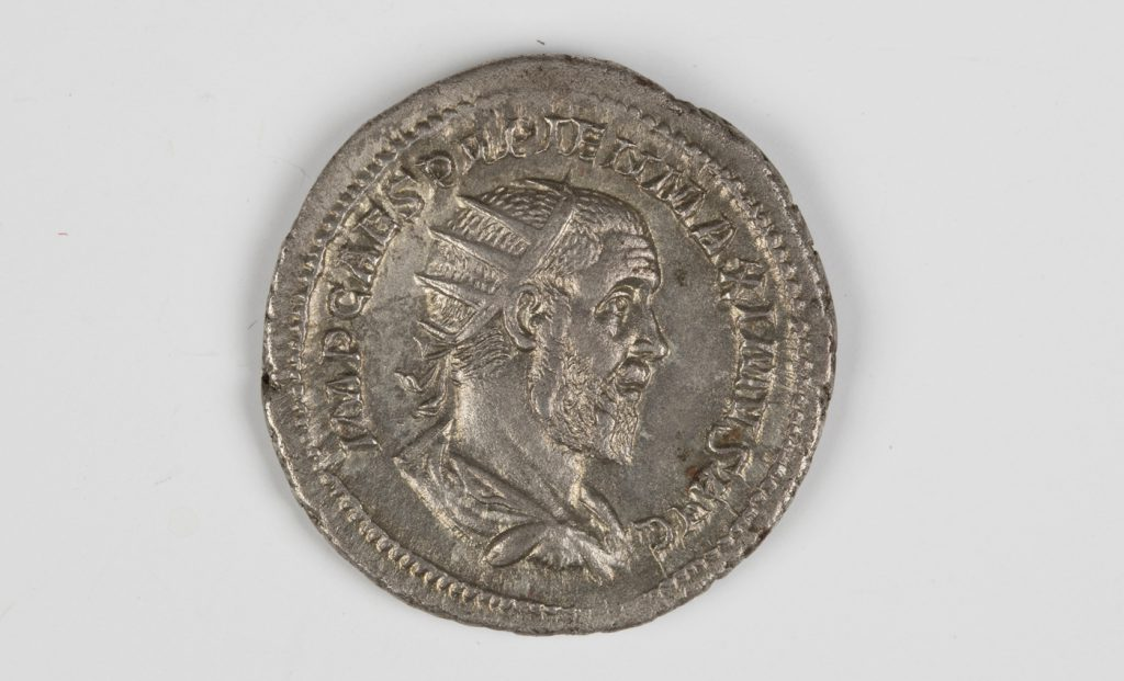 A Roman Empire Balbinus (238AD) antoninianus, the reverse with clasped hands beneath 'Concordia Augg'.