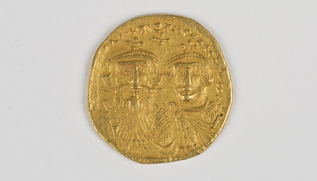 Lot 892 a Byzantine Empire Heraclius with Heraclius Constantine (610-641AD) gold solidus, the obverse with two busts, Constantinople mint.