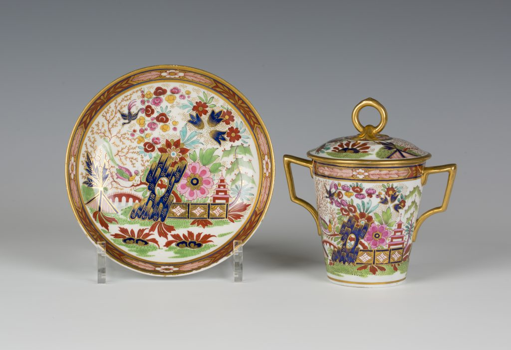 A Barr, Flight & Barr Worcester porcelain chocolate cup, cover with gilt loop finial and stand, circa 1807-1813