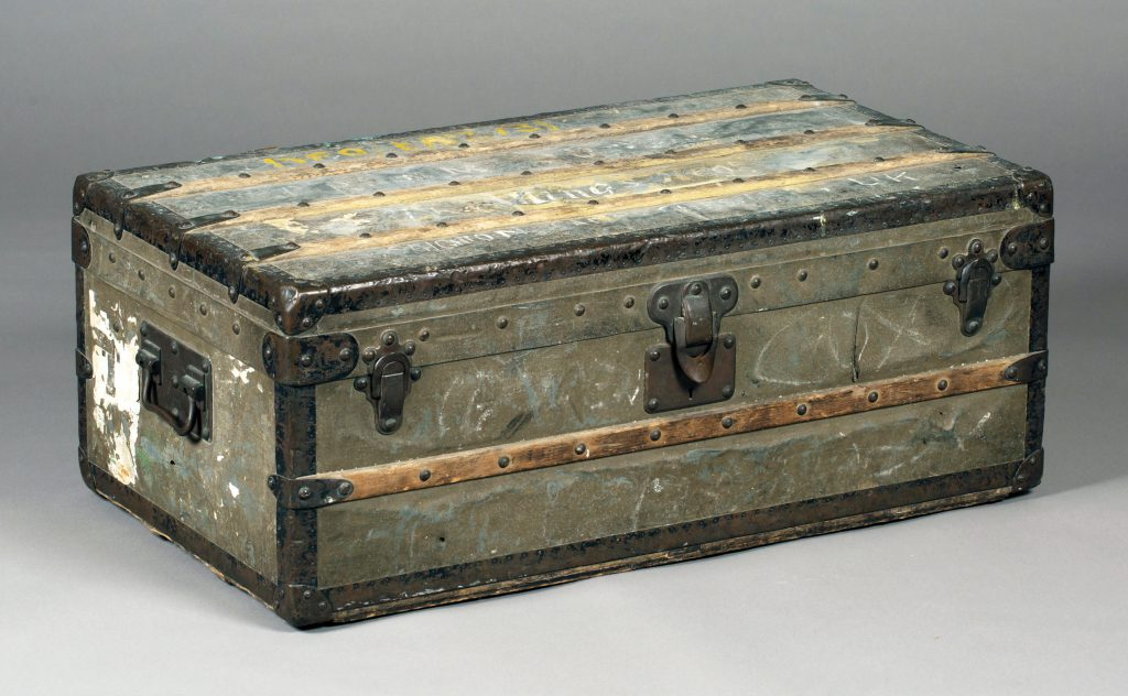 A rare Louis Vuitton zinc covered cabin trunk (malle cabine), circa 1895, the interior with original printed label numbered '44...' sold for £26,000