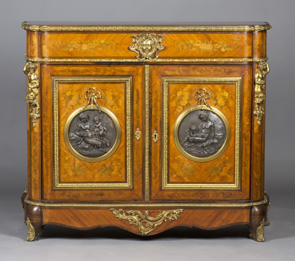 A Napoleon III kingwood and floral marquetry inlaid meuble d'appui, circa 1860