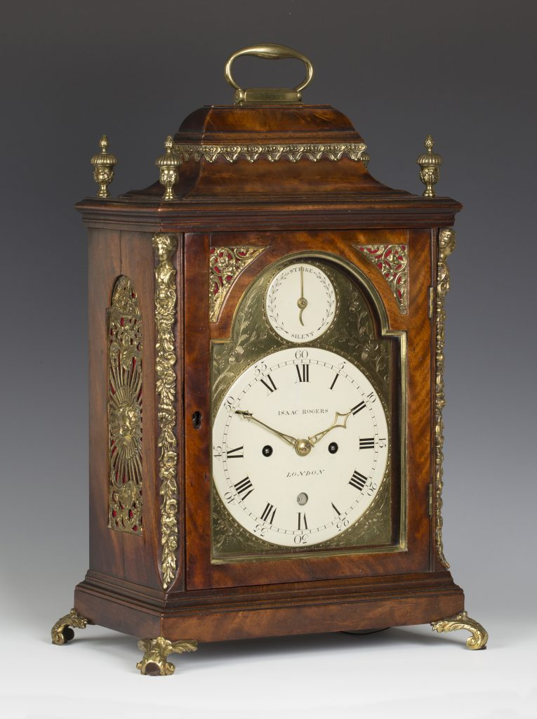 A George III brass mounted mahogany bracket clock by Isaac Rogers of London