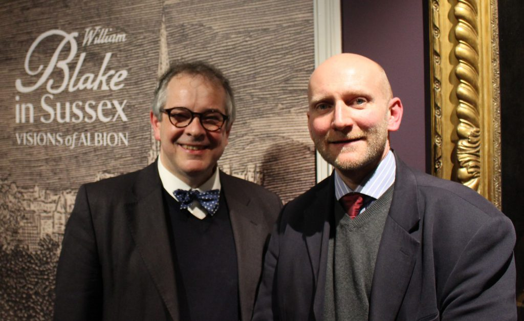 Curator Andrew Loukes with Rupert Toovey representing exhibition sponsors, Toovey's at the opening