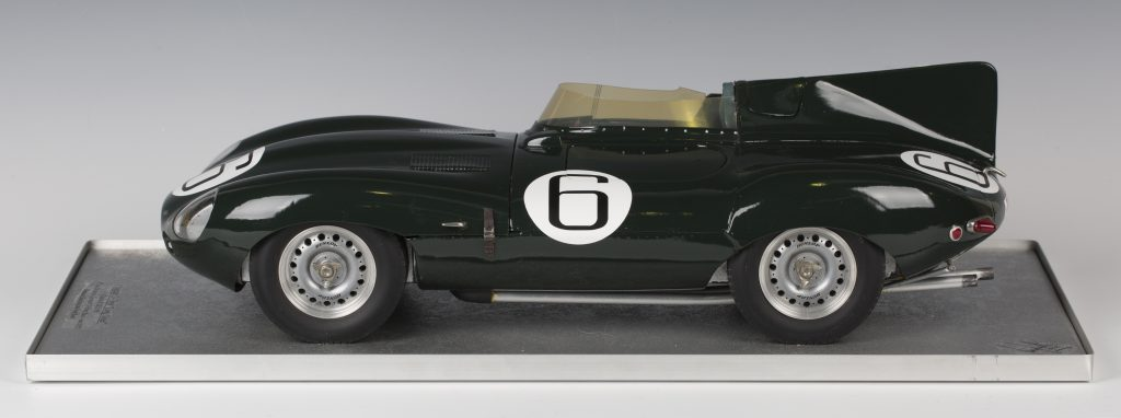 A fine ⅛ scale hand-finished model of Mike Hawthorn's 1955 Jaguar D-type Le Mans winner