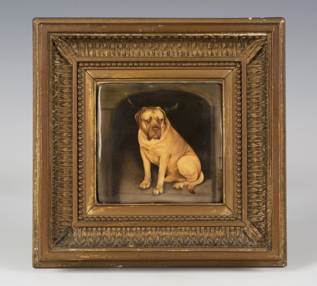 A late 19th century enamelled copper rectangular panel by John William Bailey titled 'Winslow's dog - Champion' from the Nellie Lenson-Smith collection.