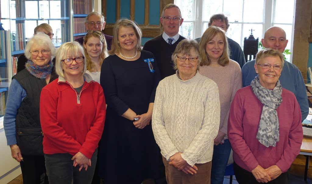 The High Sheriff of West Sussex with Jeremy Knight and some of the volunteers at The Horsham Museum & Art Gallery