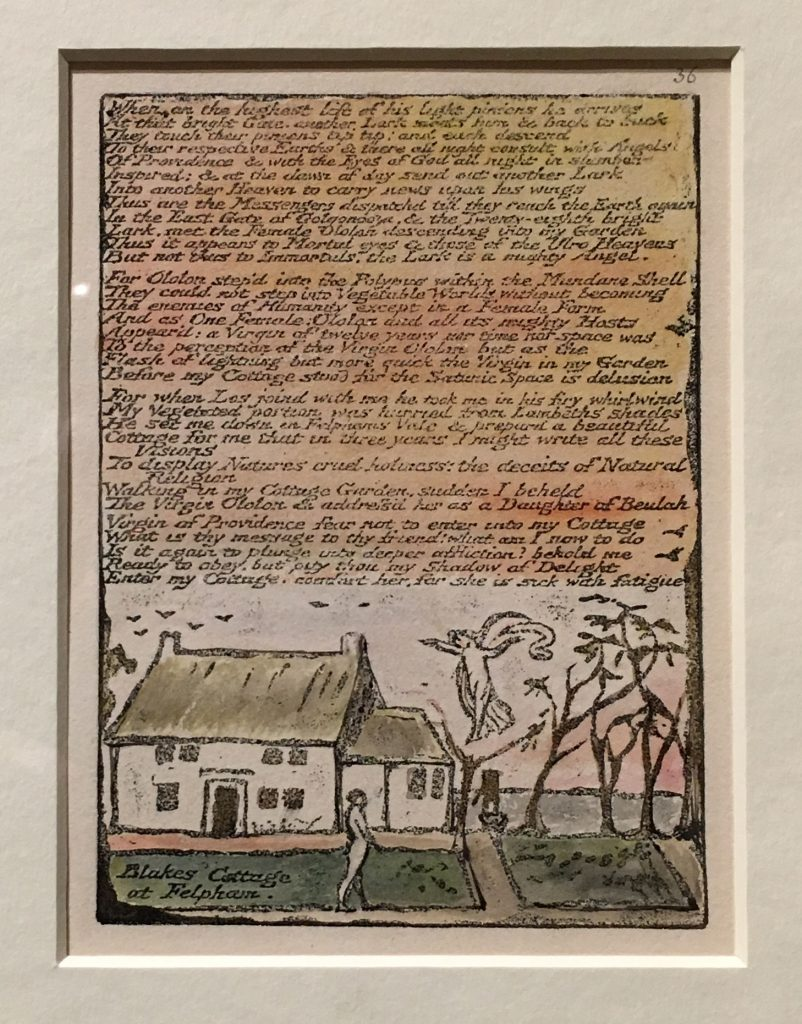 William Blake, 'Blake's Cottage at Felpham', plate 36 from Milton a Poem, etching and watercolour © The British Museum, London