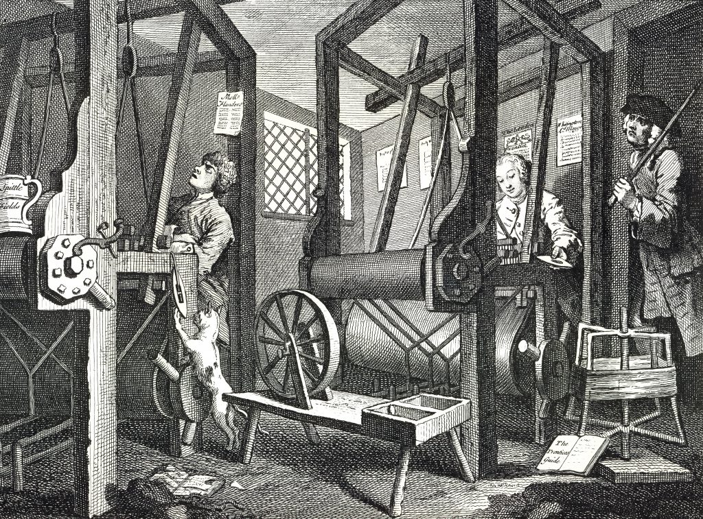 William Hogarth's engraving 'The Tailor Apprentice' from 'Industry and Idleness', circa 1747