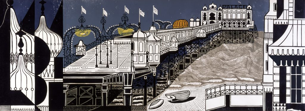Edward Bawden, 'Brighton Pier', 1958, Linocut on paper, Trustees of the Cecil Higgins Art Gallery (The Higgins Bedford), © Estate of Edward Bawden