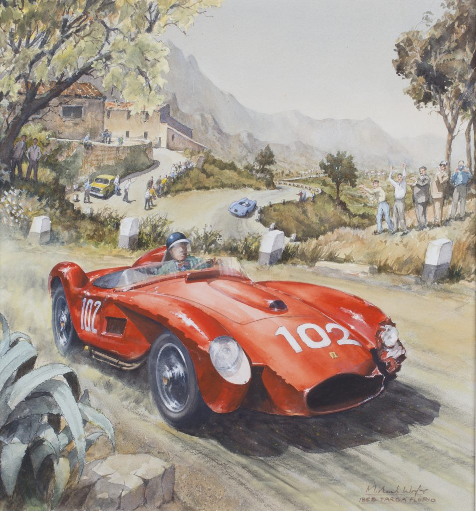 Michael Wright's late 20th century watercolour depicting Mike Hawthorn in his Ferrari, no. 102 titled '1958 Targa Florio'