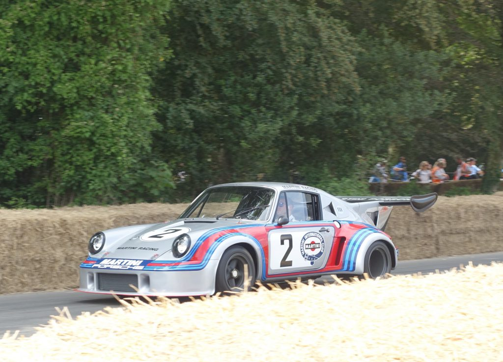 A 1974 Porsche 911 Carrera RSR Turbo on the hill climb at Goodwood