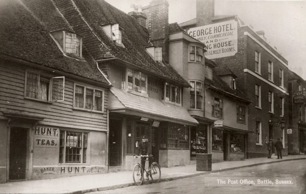 A Homewood postcard of the Post Office at Battle in Sussex