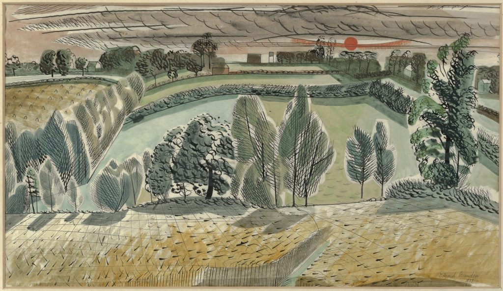 Edward Bawden, 'Untitled landscape with Sunset', 1927, watercolour on paper, Private Collection, © Estate of Edward Bawden