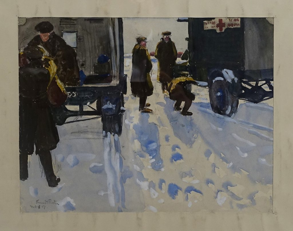 Ernest Proctor's watercolour 'SSA at HQ Loading Up, 1917'