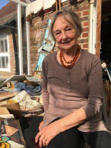 Sussex artist Alison Milner-Gulland at work in her studio