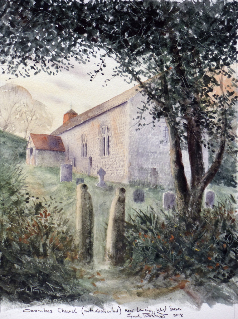 Gordon Rushmer's watercolour of Coombes Church