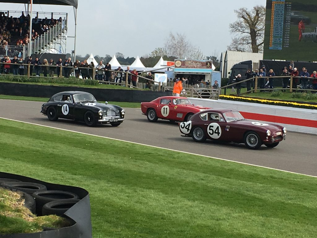 An AC Aceca, Ferrari 250 GT Tour de France and an Aston Martin DB2/4 competing for the Tony Gaze Trophy
