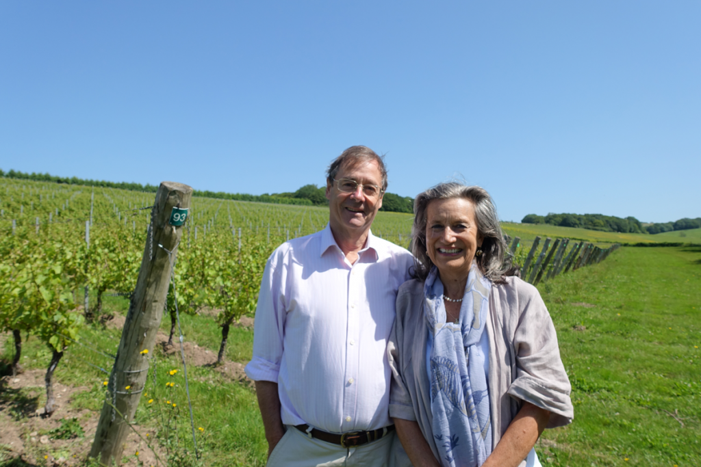 Harry and Pip Goring at the Wiston vineyard on the Sussex Downs