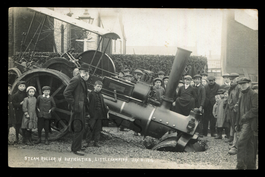 A Sussex postcard titled 'Steam Roller in Difficulties, Littlehampton, Jan 8, 1914'