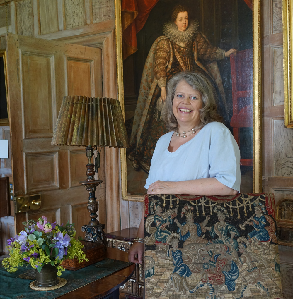Lady Emma Barnard in the Great Parlour at Parham