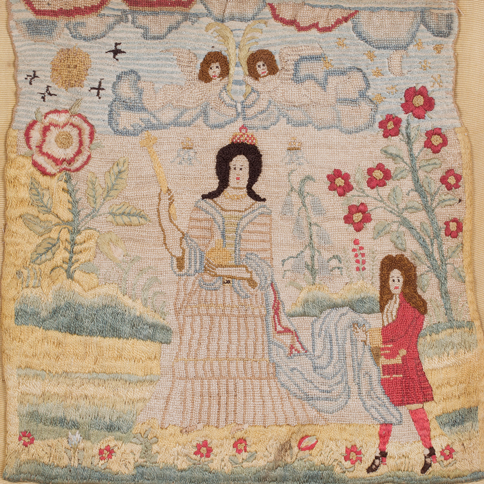 A Queen Anne needlework panel, depicting the Queen and an attendant standing in a garden © Toovey's 2021